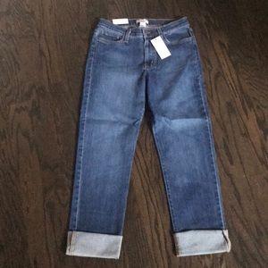 NWT Judy Blue medium wash straight cuffed jeans.